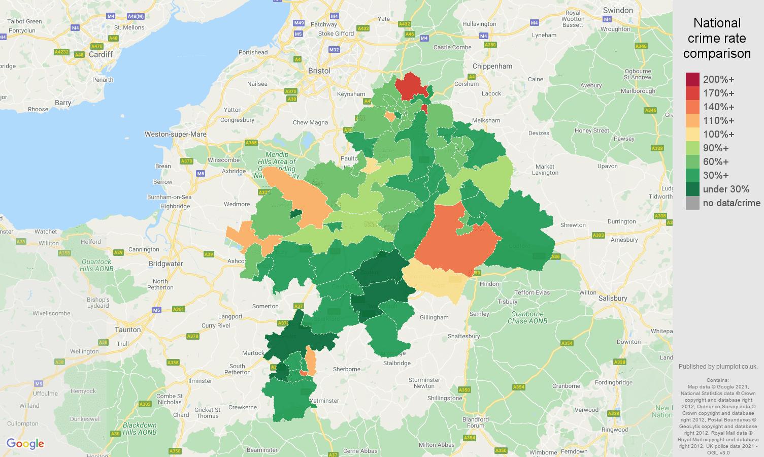Bath burglary crime rate comparison map