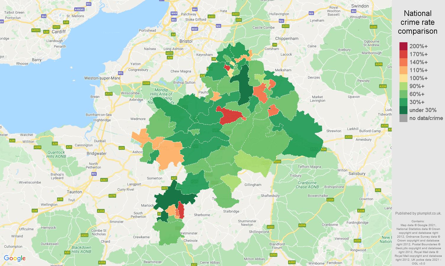 Bath criminal damage and arson crime rate comparison map