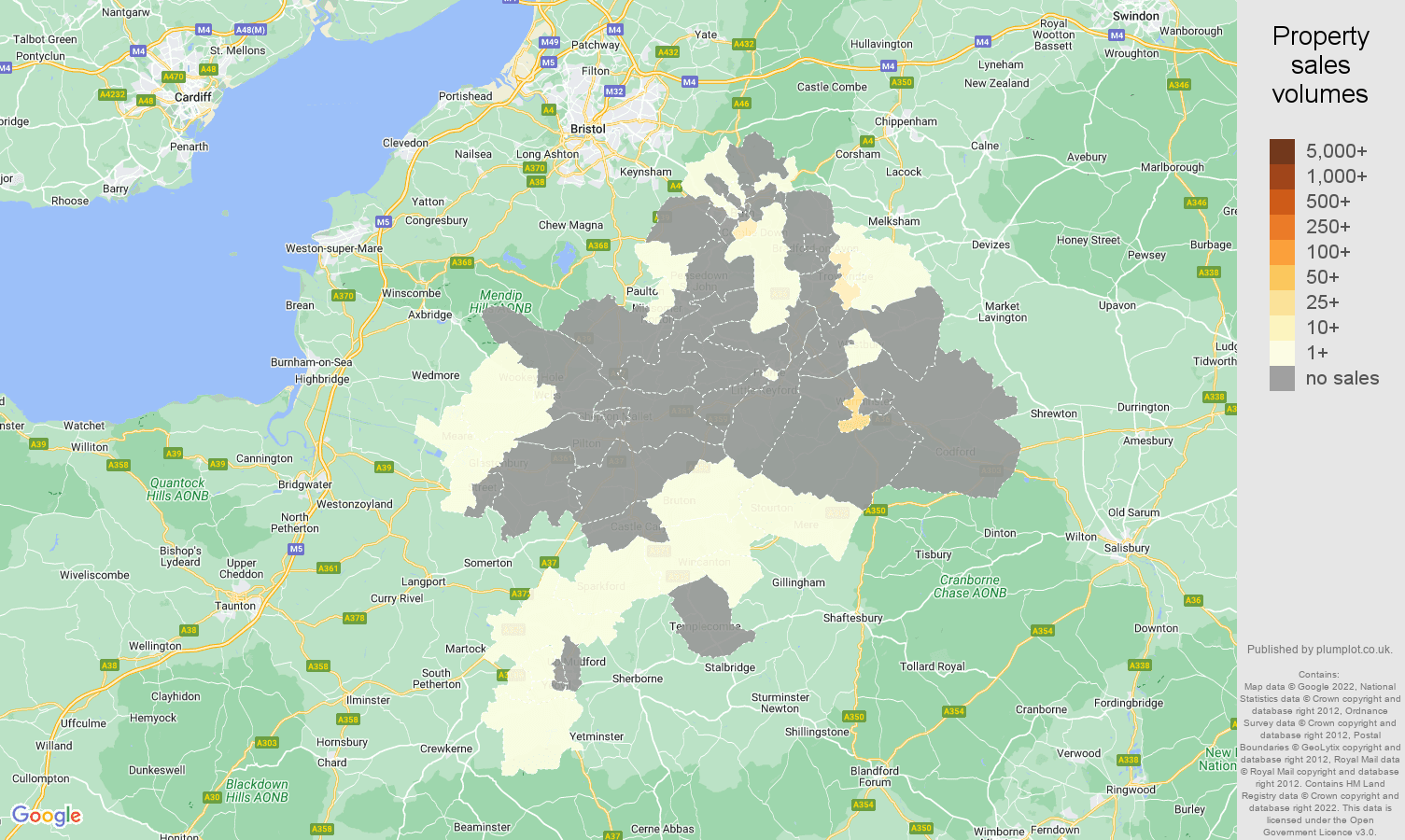 Bath map of sales of new properties