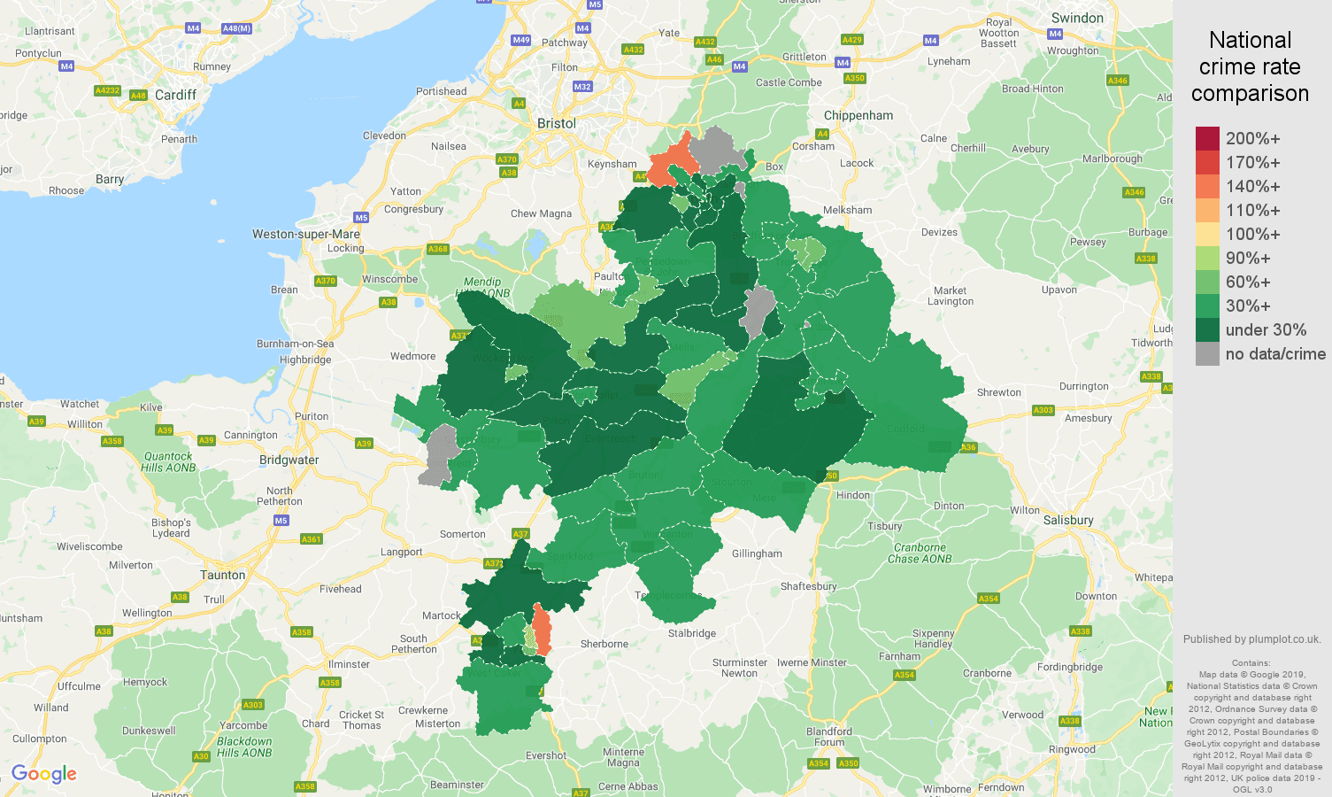 Bath other crime rate comparison map
