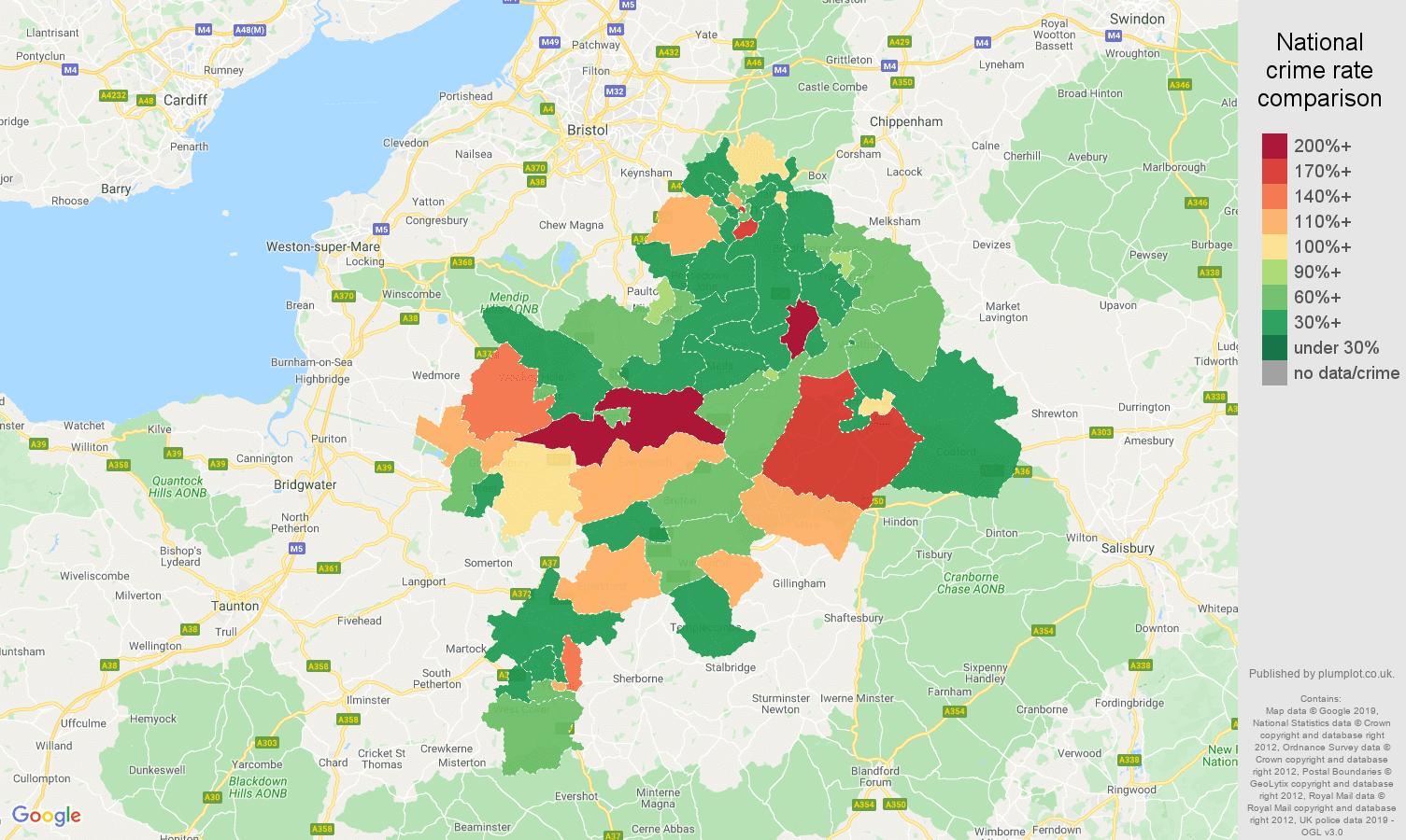 Bath other theft crime rate comparison map