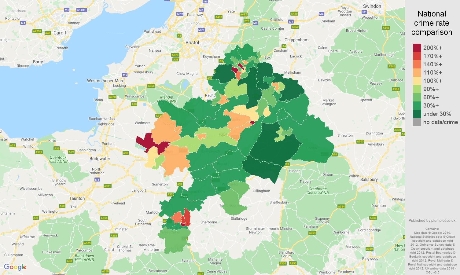 Bath public order crime rate comparison map