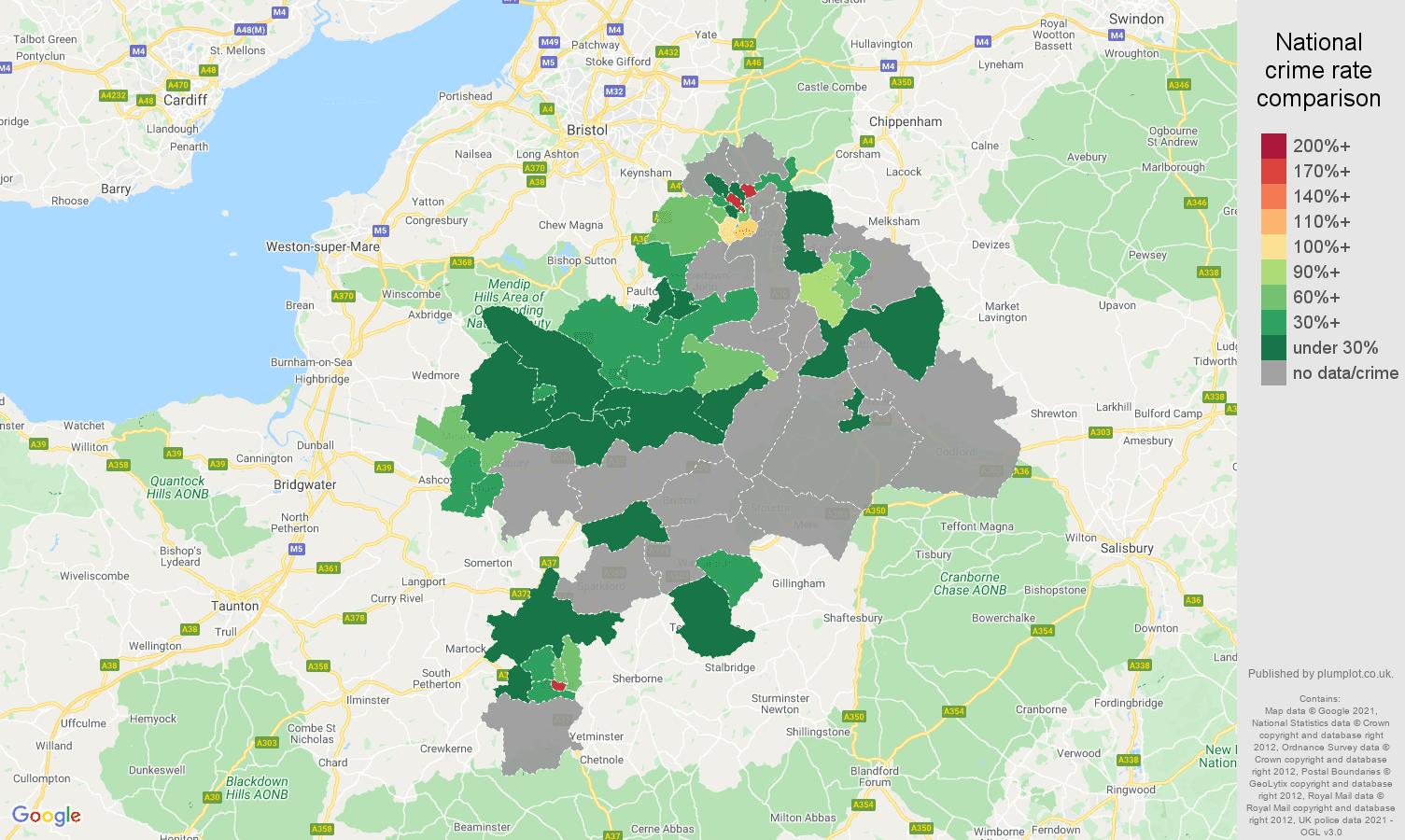 Bath robbery crime rate comparison map