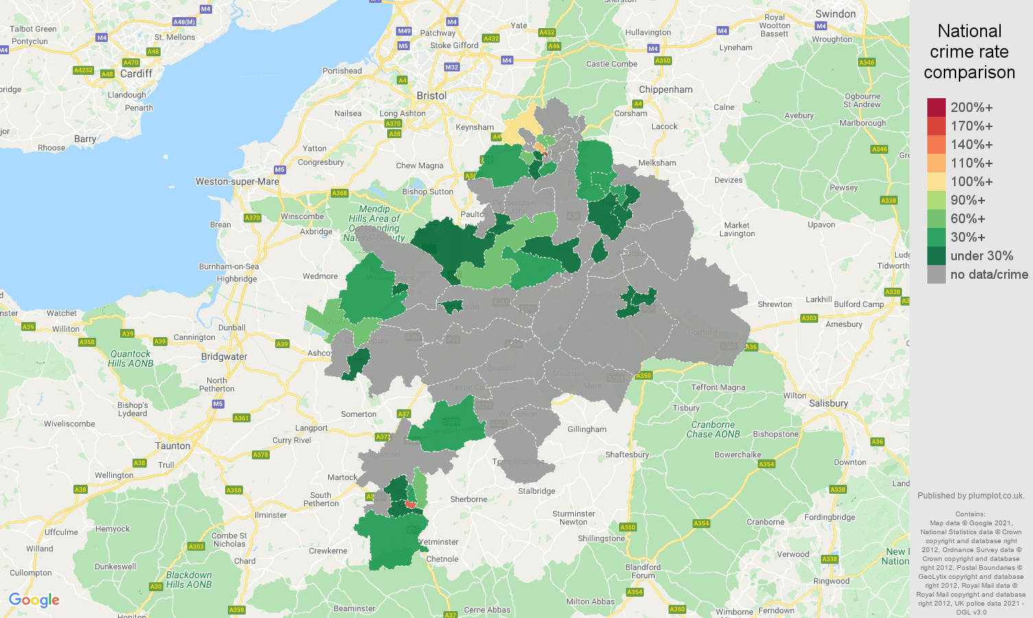 Bath theft from the person crime rate comparison map