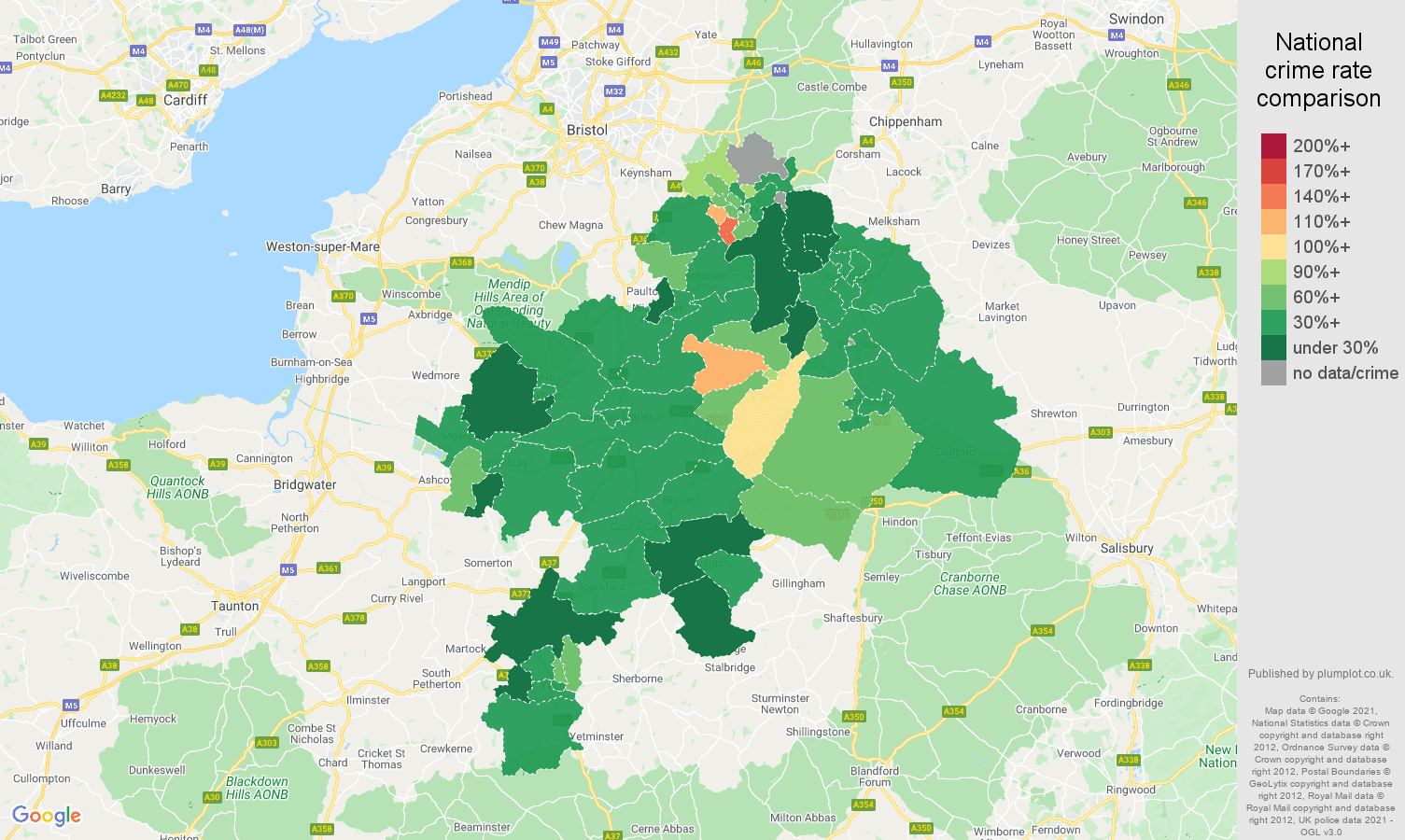 Bath vehicle crime rate comparison map