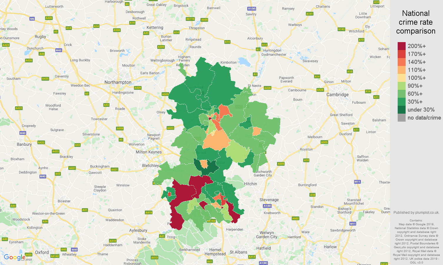 Bedfordshire other theft crime rate comparison map