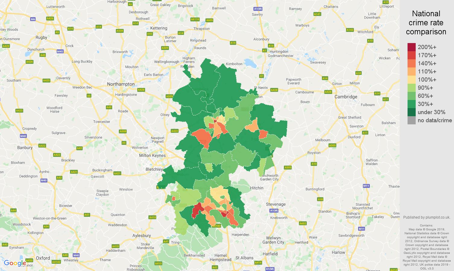 Bedfordshire public order crime rate comparison map