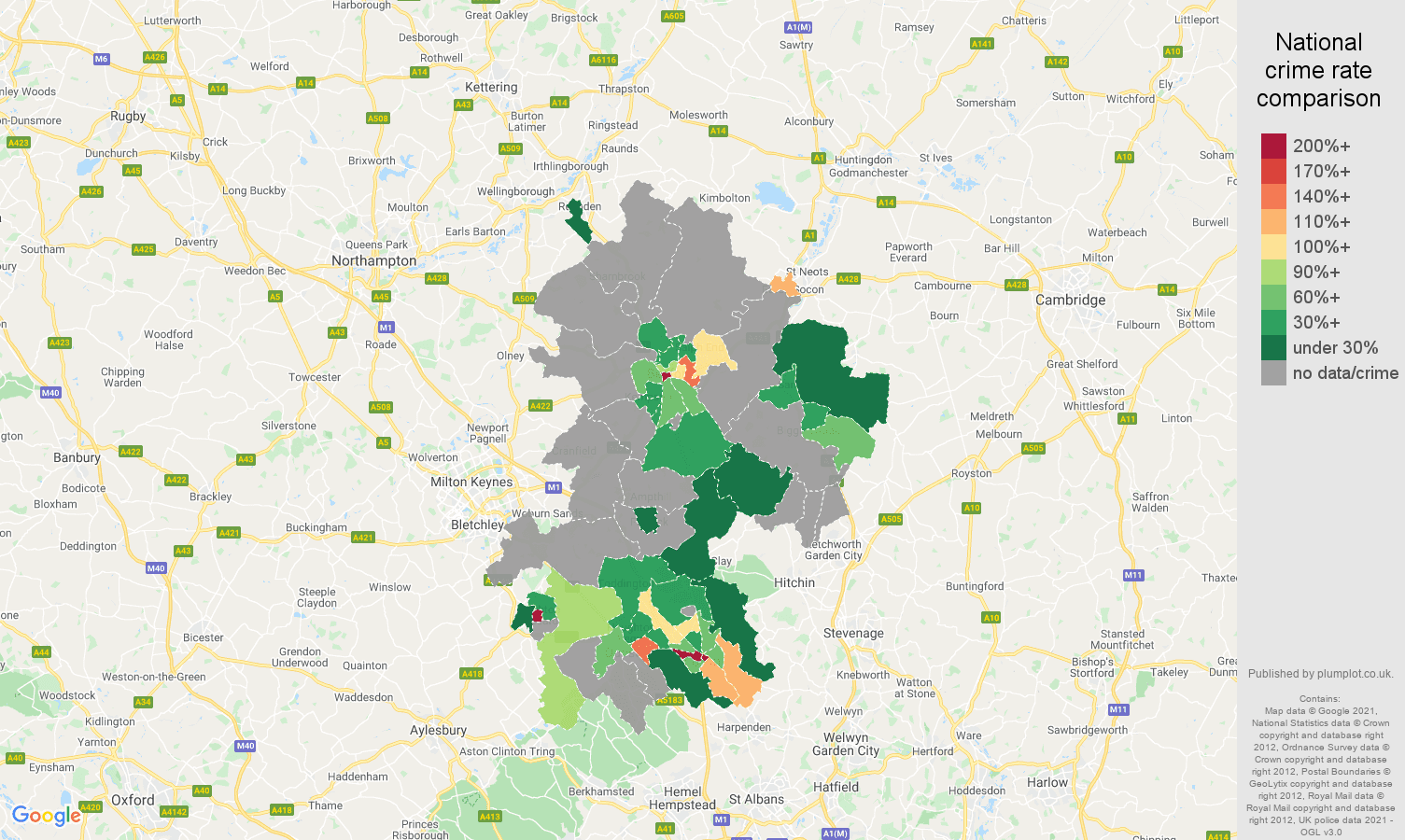 Bedfordshire theft from the person crime rate comparison map