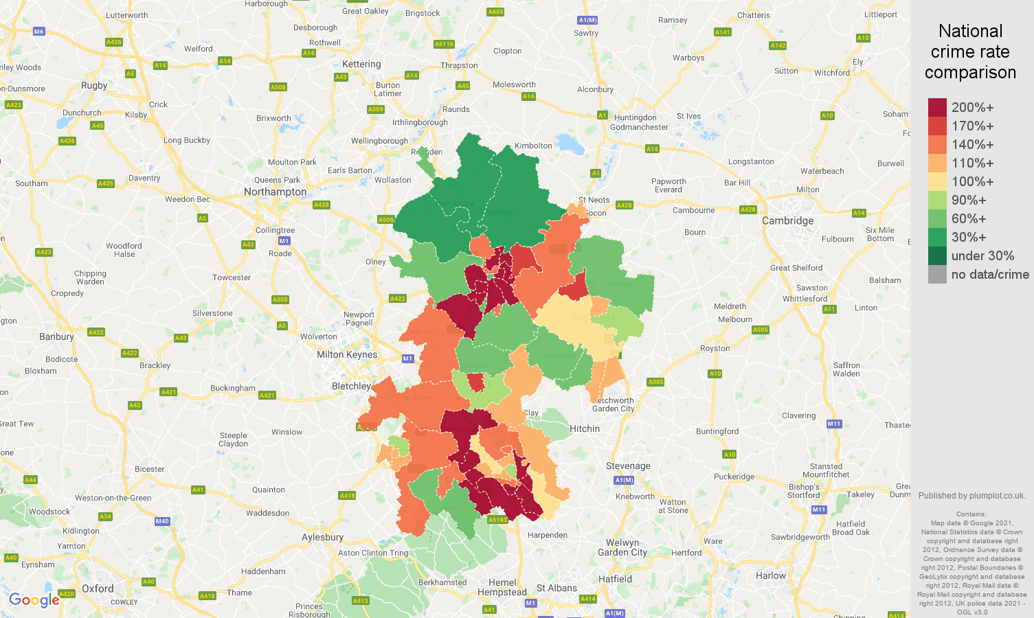 Bedfordshire vehicle crime rate comparison map