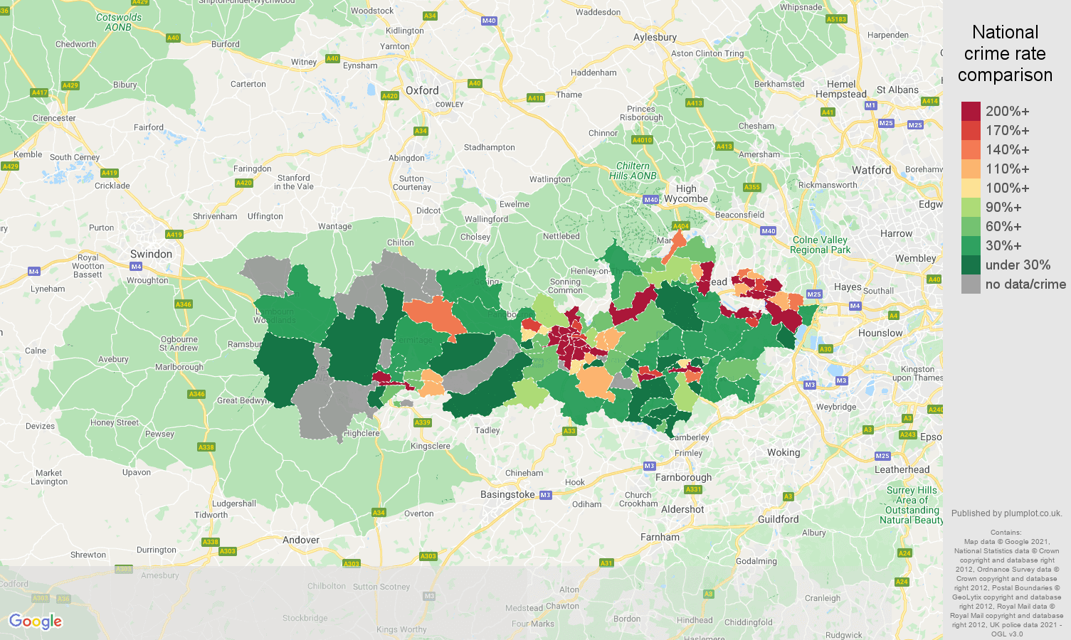 Berkshire bicycle theft crime rate comparison map
