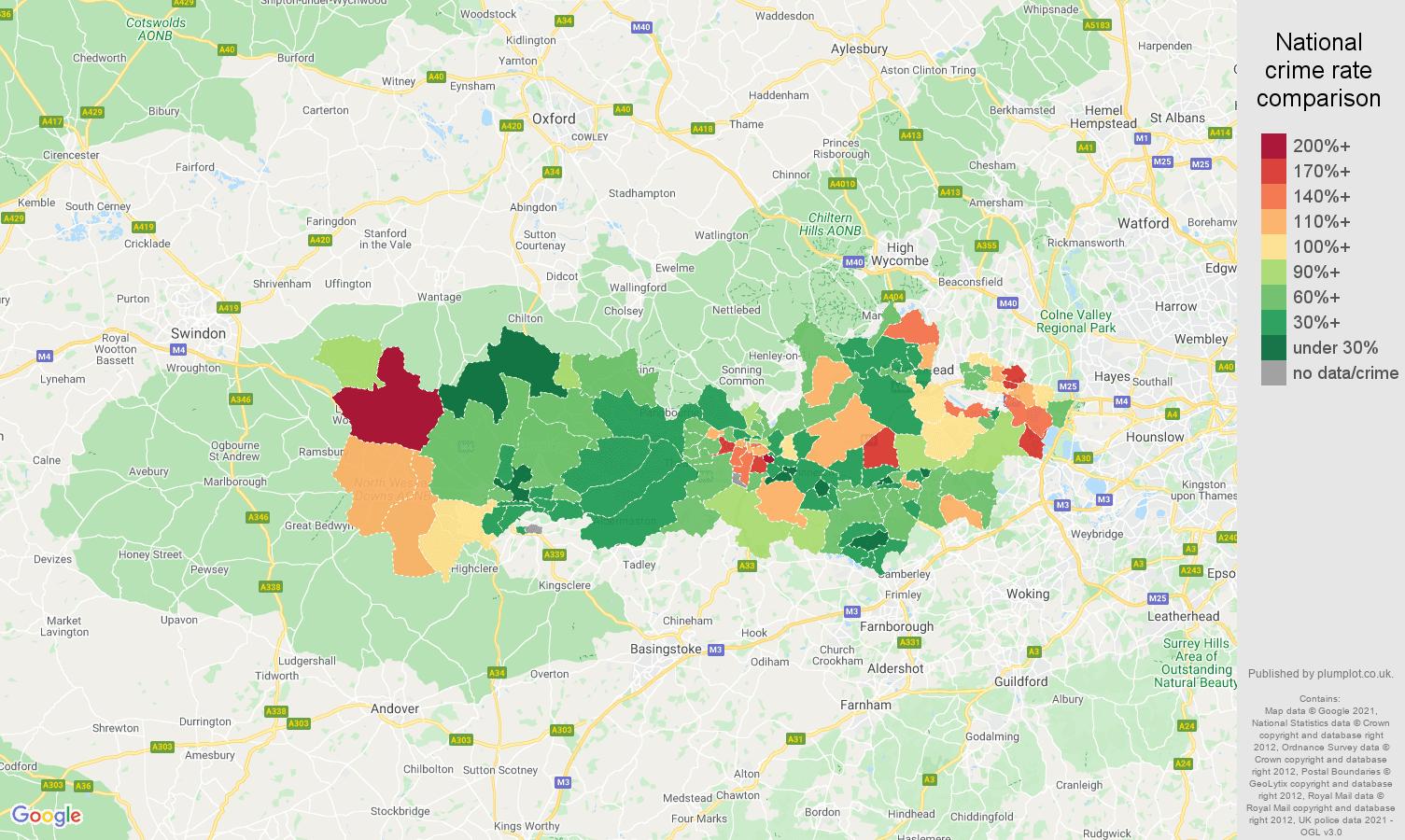 Berkshire burglary crime rate comparison map