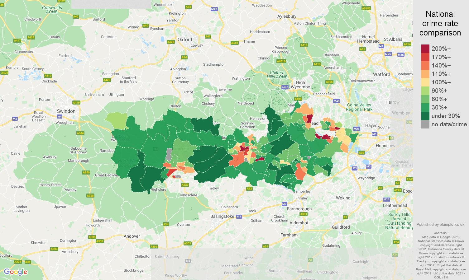 Berkshire drugs crime rate comparison map