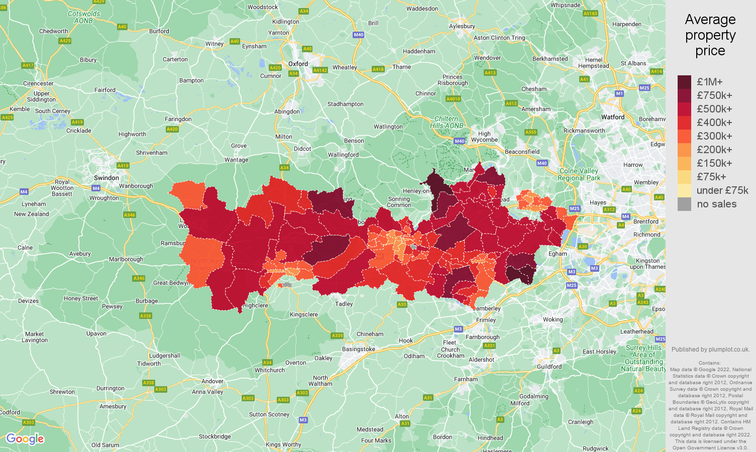 Berkshire house prices map