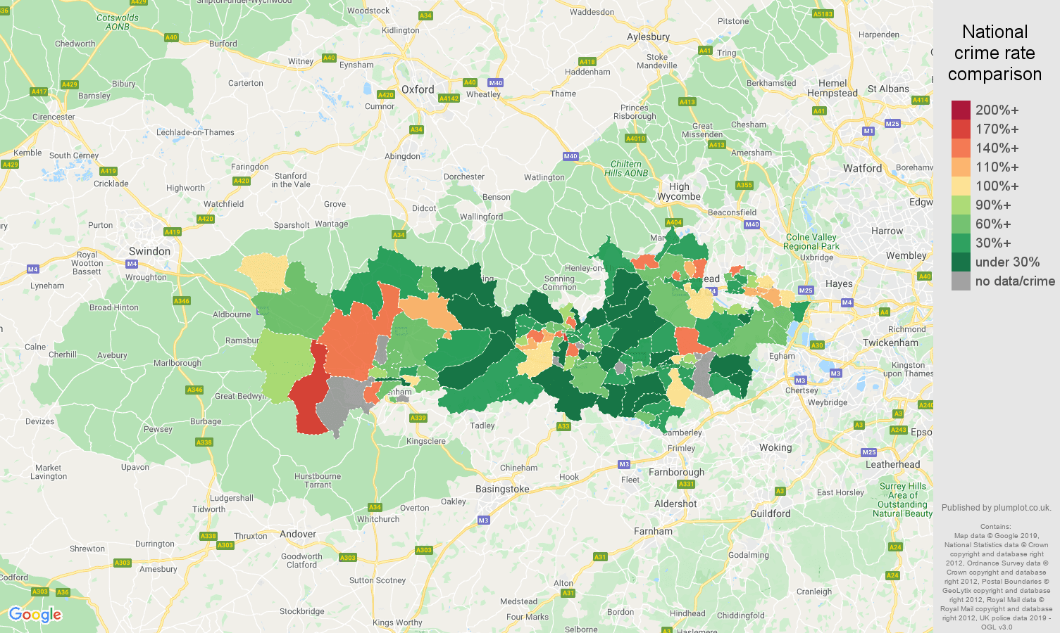 Berkshire other crime rate comparison map