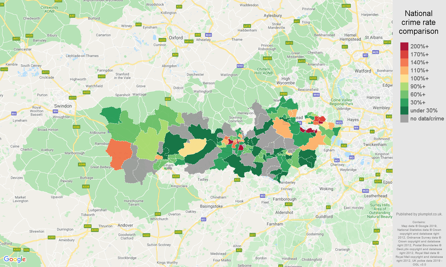 Berkshire possession of weapons crime rate comparison map