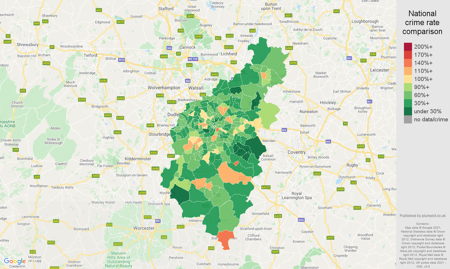 Birmingham antisocial behaviour crime rate comparison map