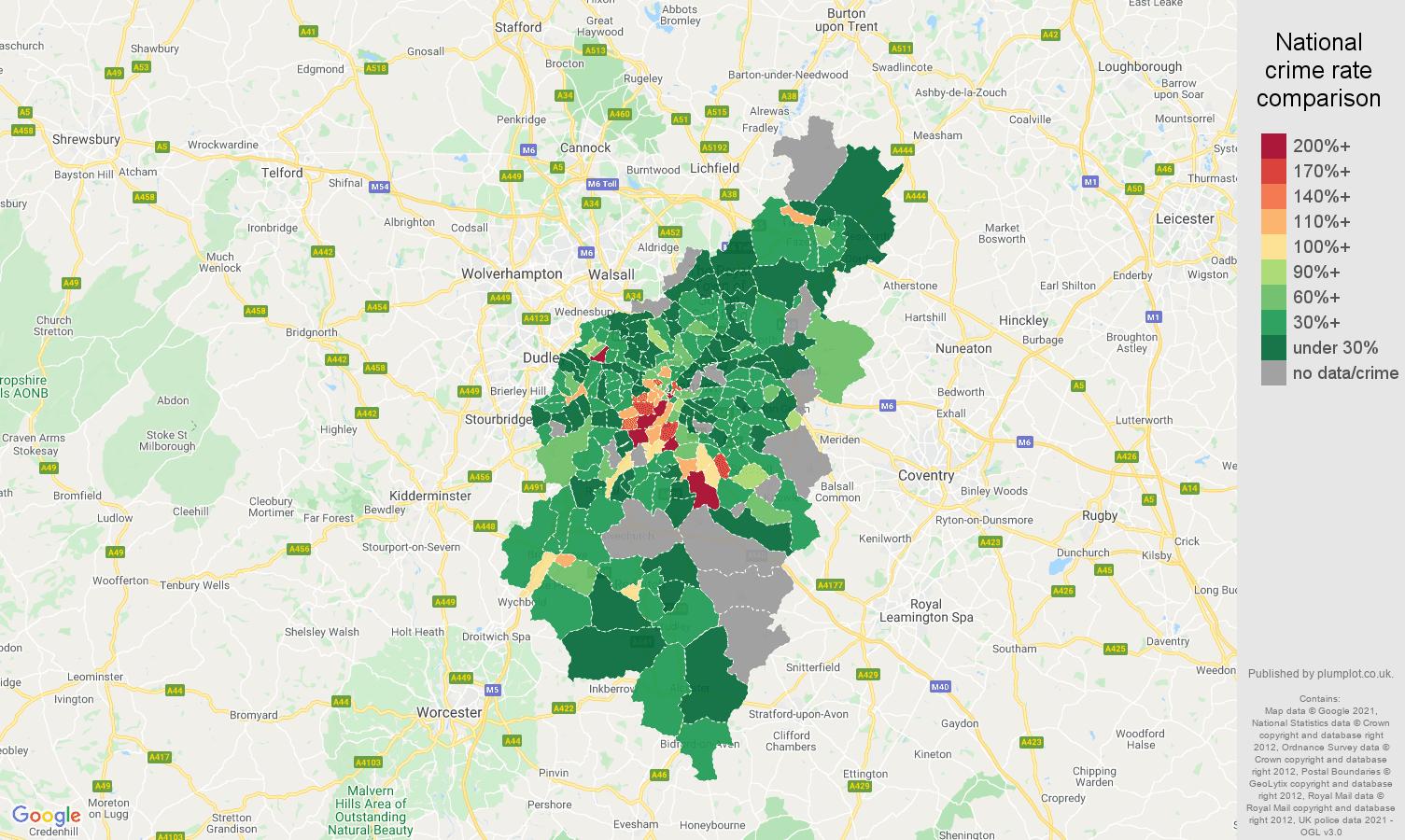 Birmingham bicycle theft crime rate comparison map