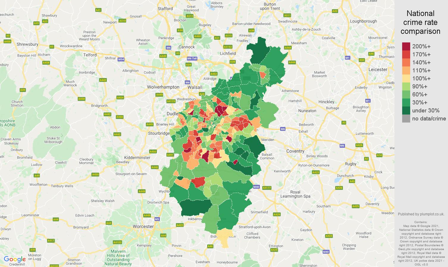 Birmingham criminal damage and arson crime rate comparison map