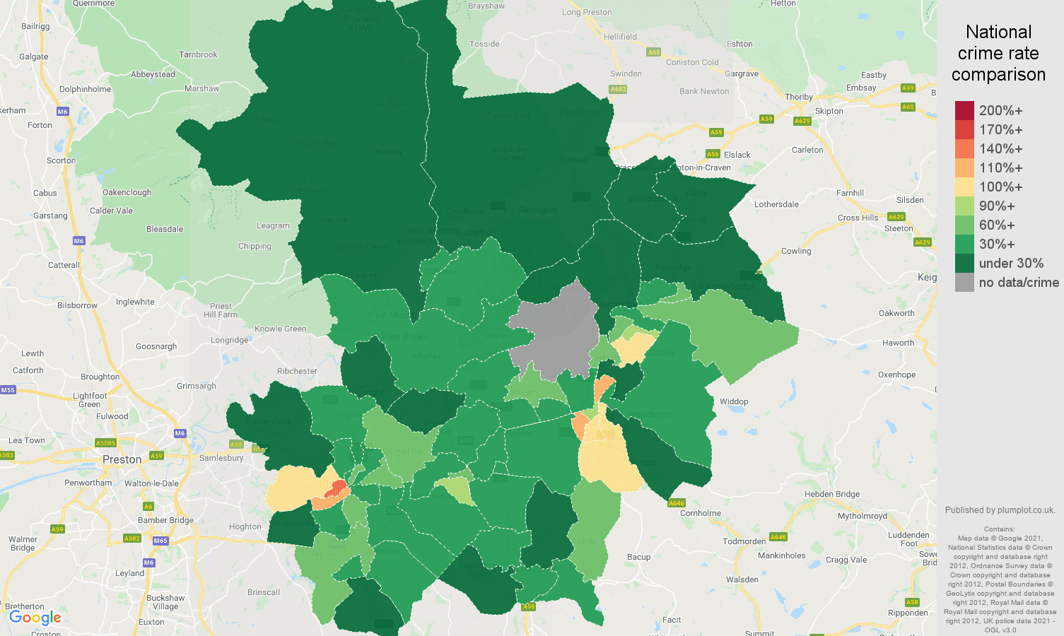 Blackburn drugs crime rate comparison map