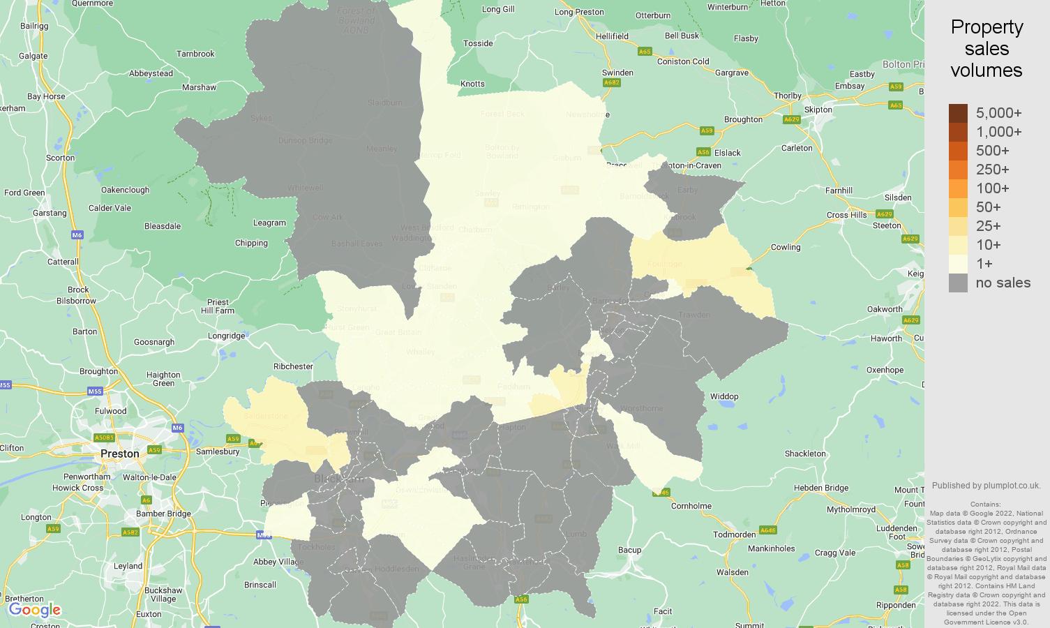 Blackburn map of sales of new properties