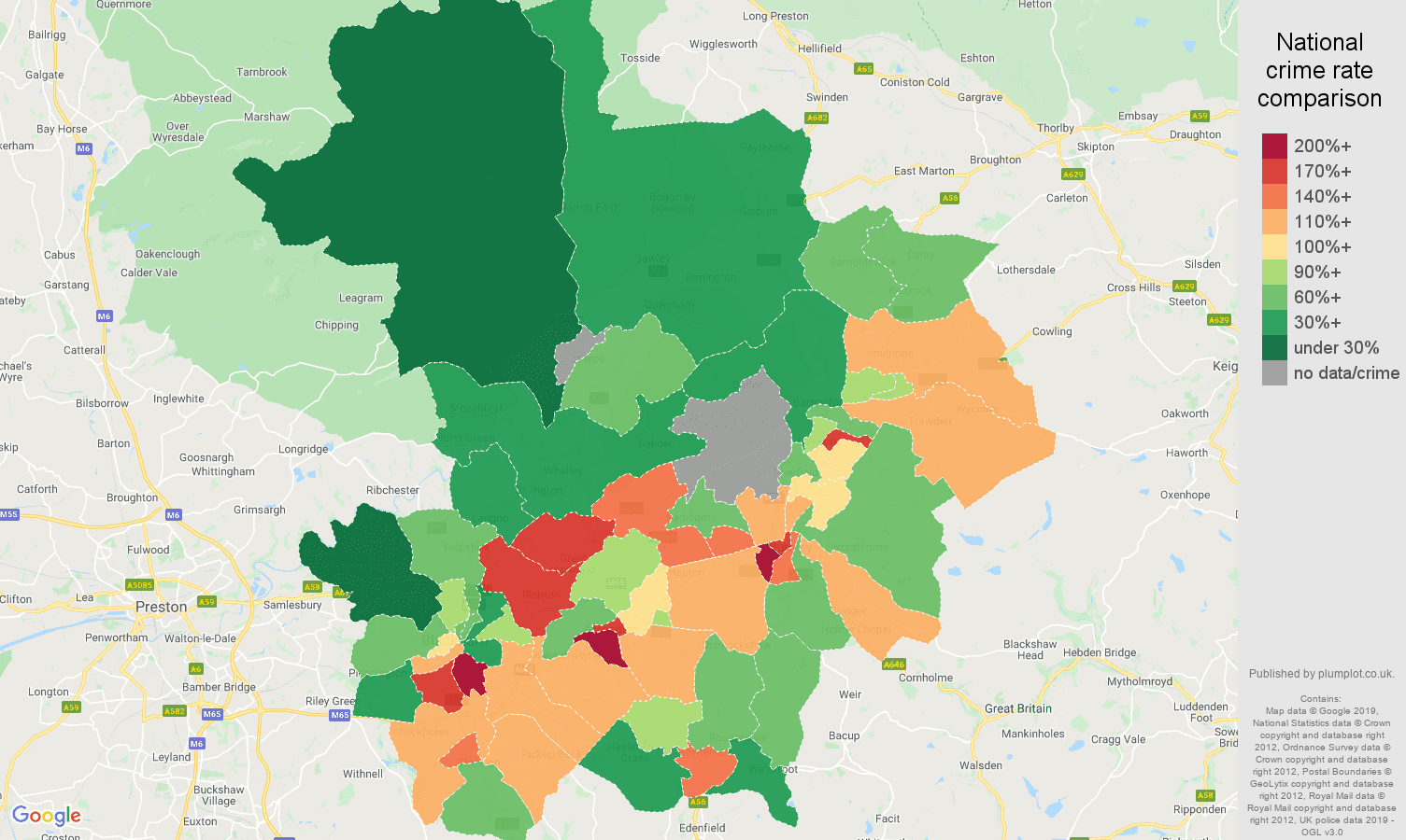 Blackburn other crime rate comparison map