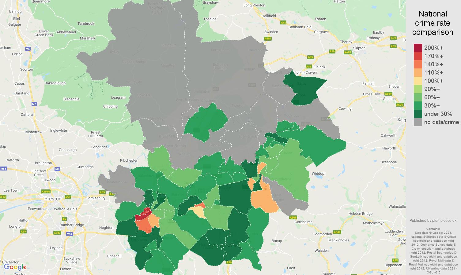 Blackburn robbery crime rate comparison map