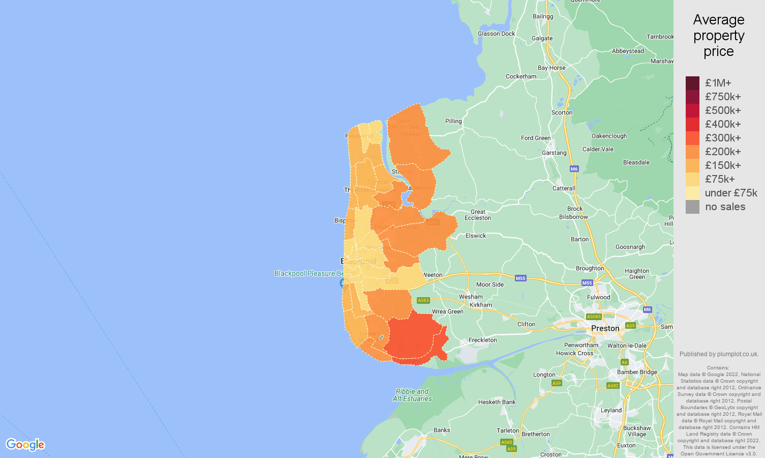 Blackpool house prices map