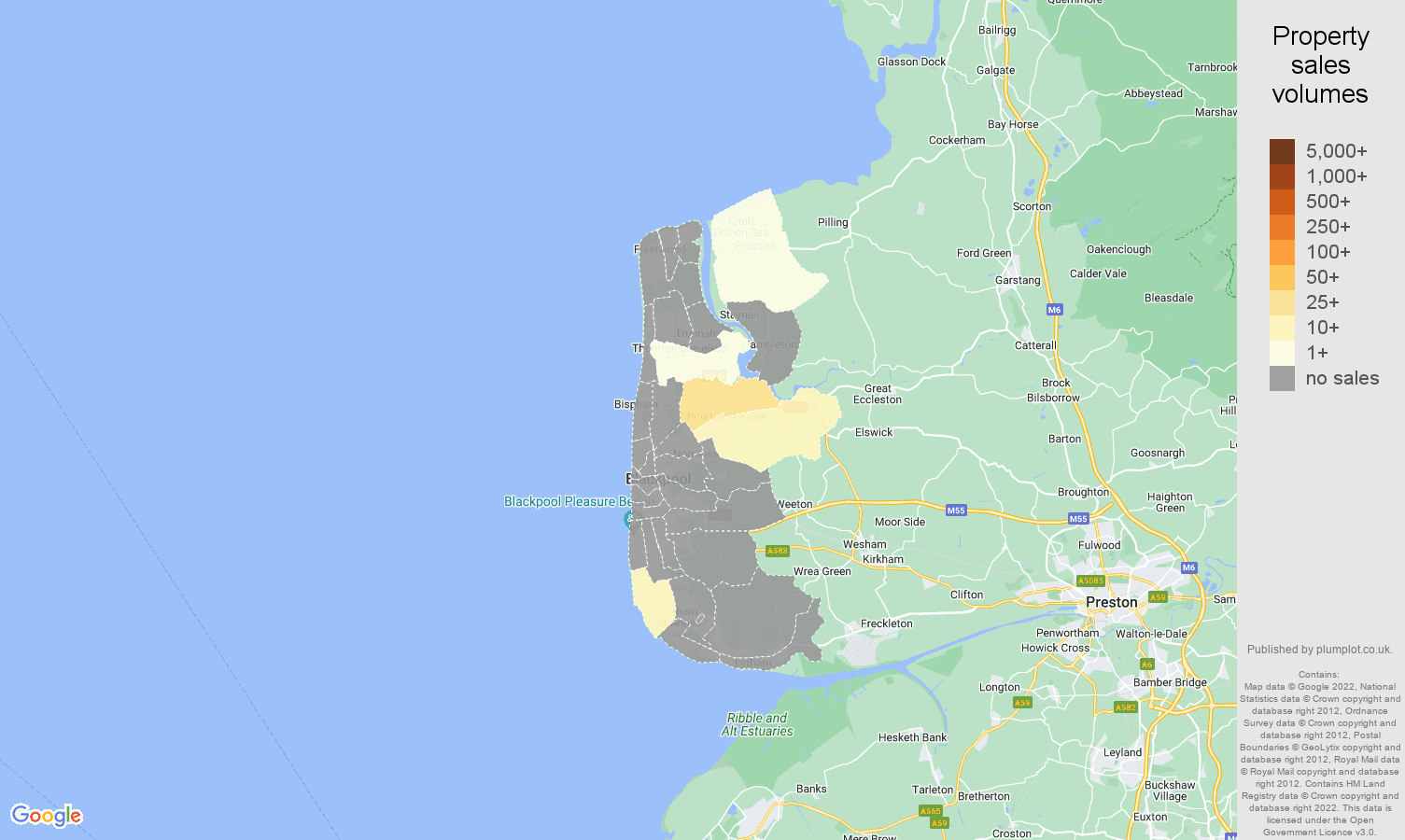 Blackpool map of sales of new properties