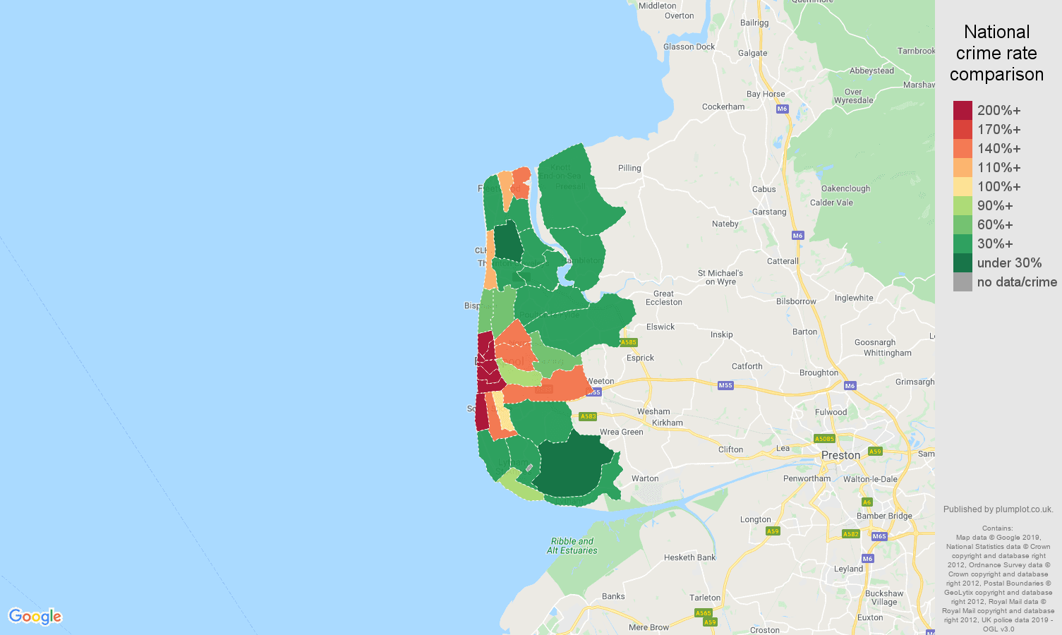 Blackpool public order crime rate comparison map