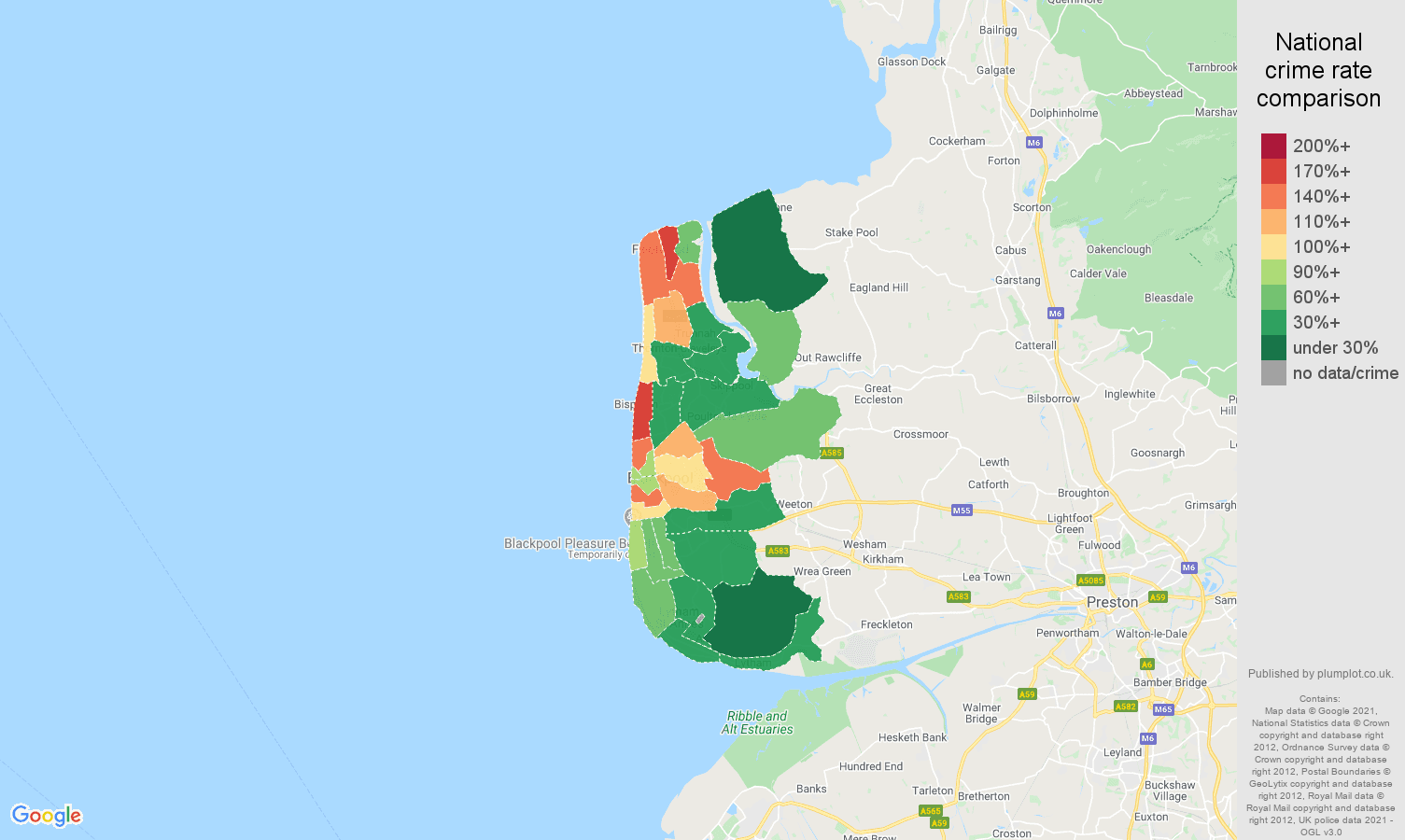 Blackpool vehicle crime rate comparison map
