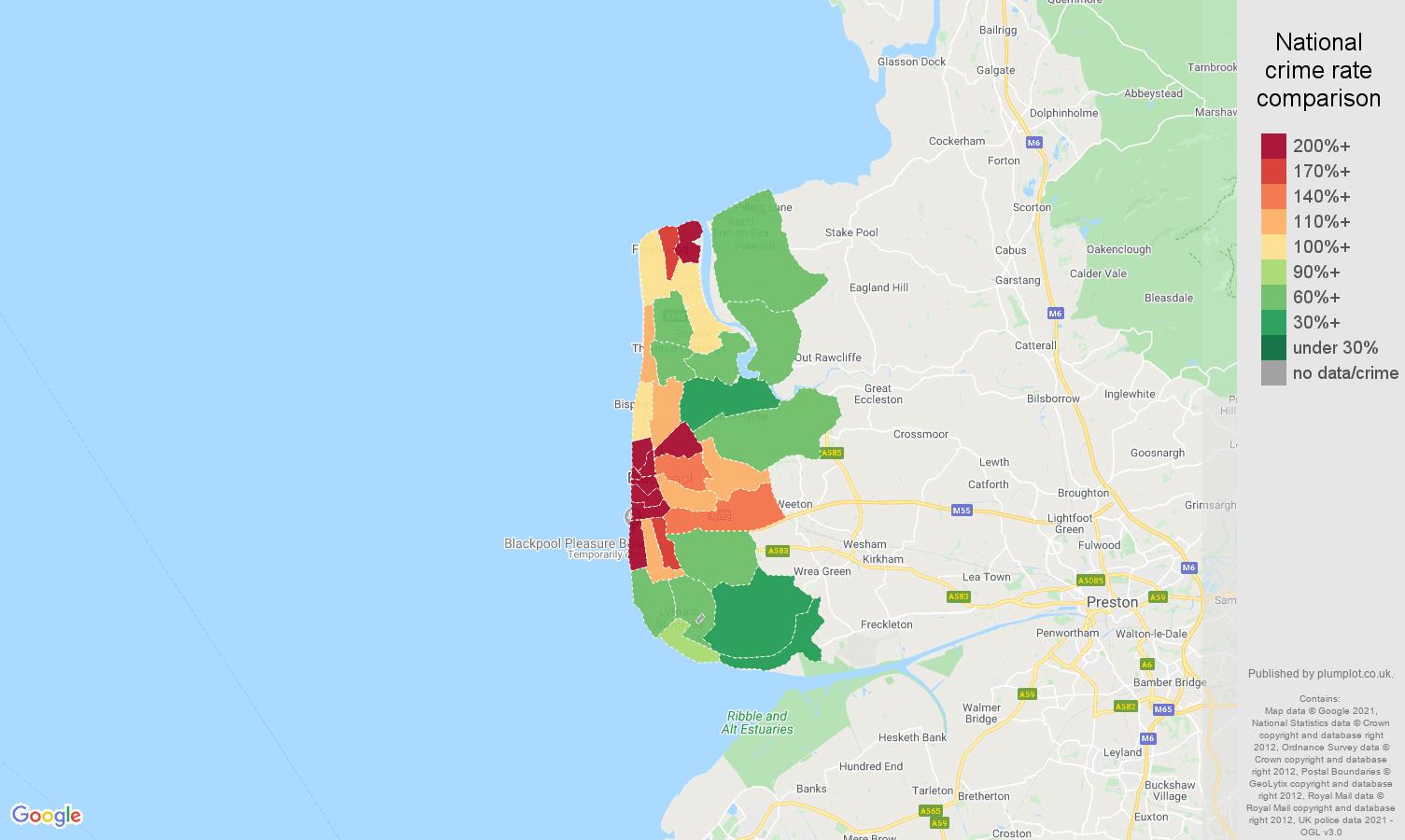 Blackpool violent crime rate comparison map