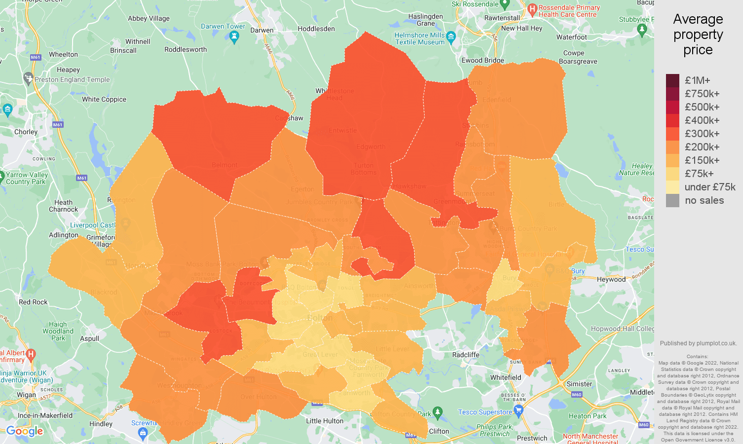 Bolton house prices map