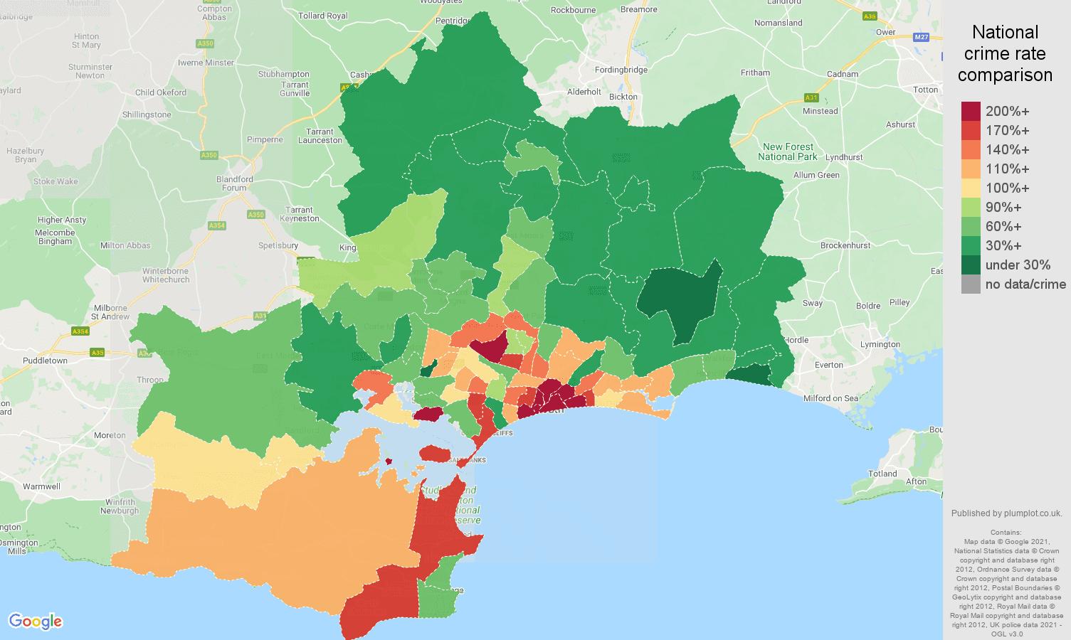 Bournemouth antisocial behaviour crime rate comparison map