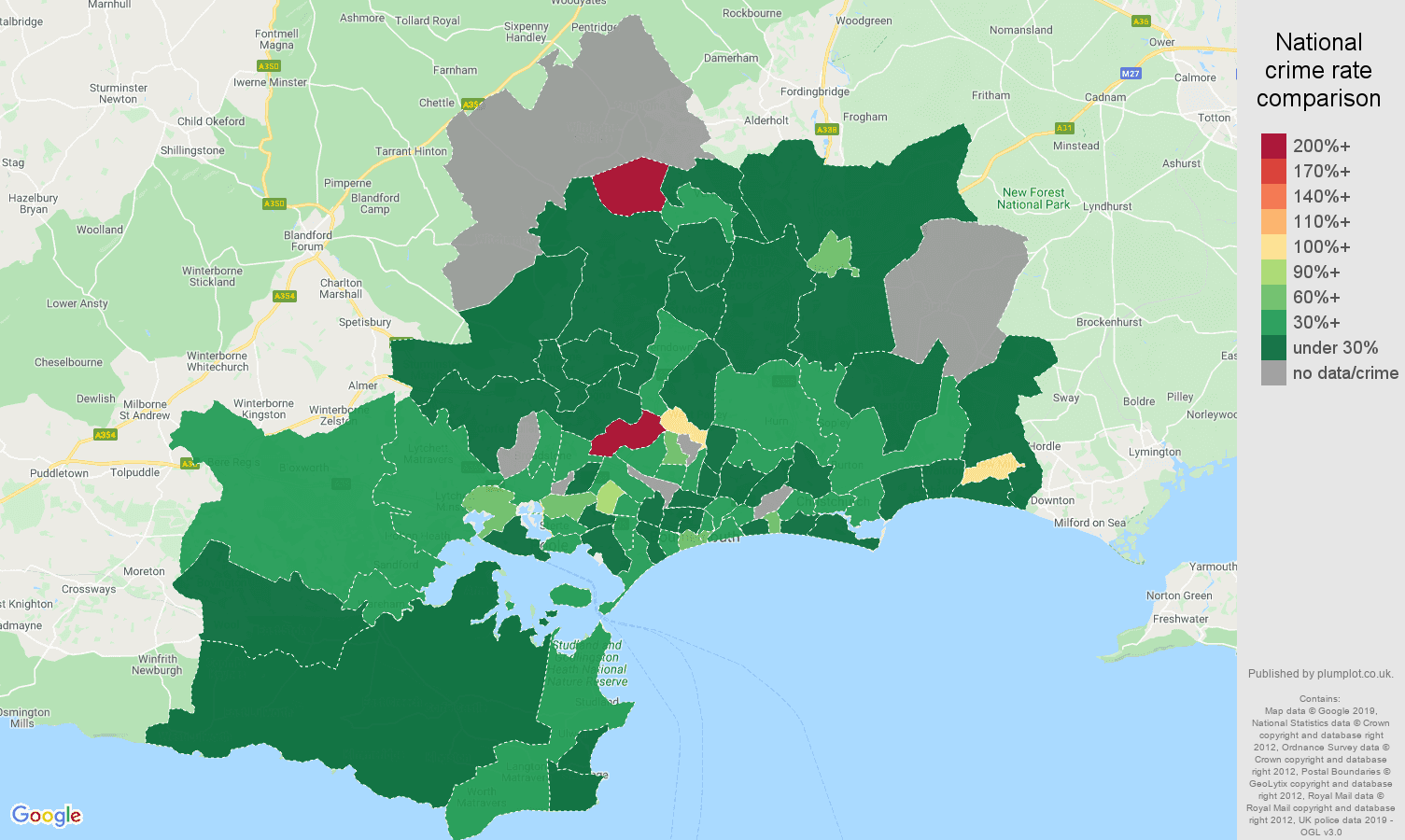 Bournemouth other crime rate comparison map