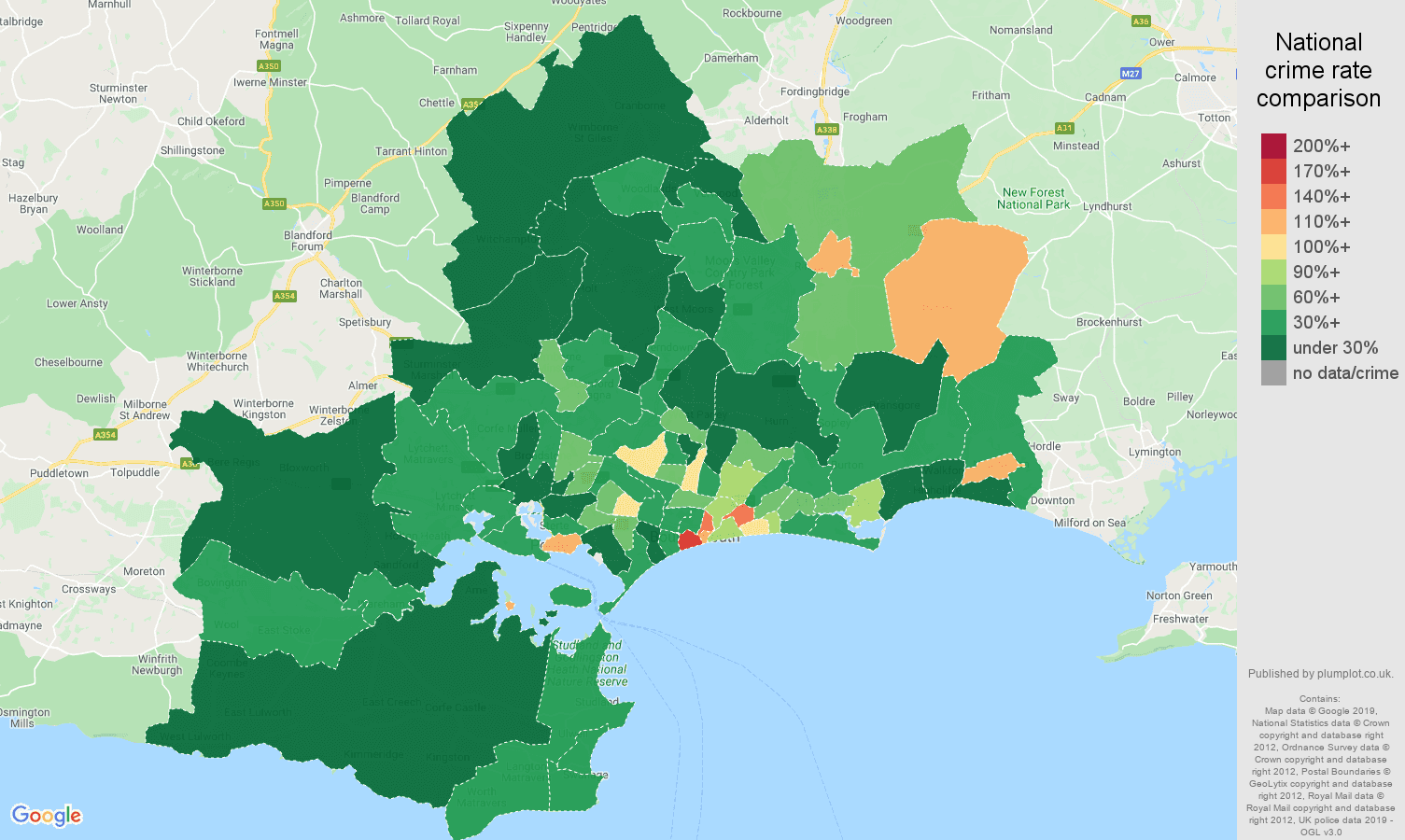 Bournemouth public order crime rate comparison map