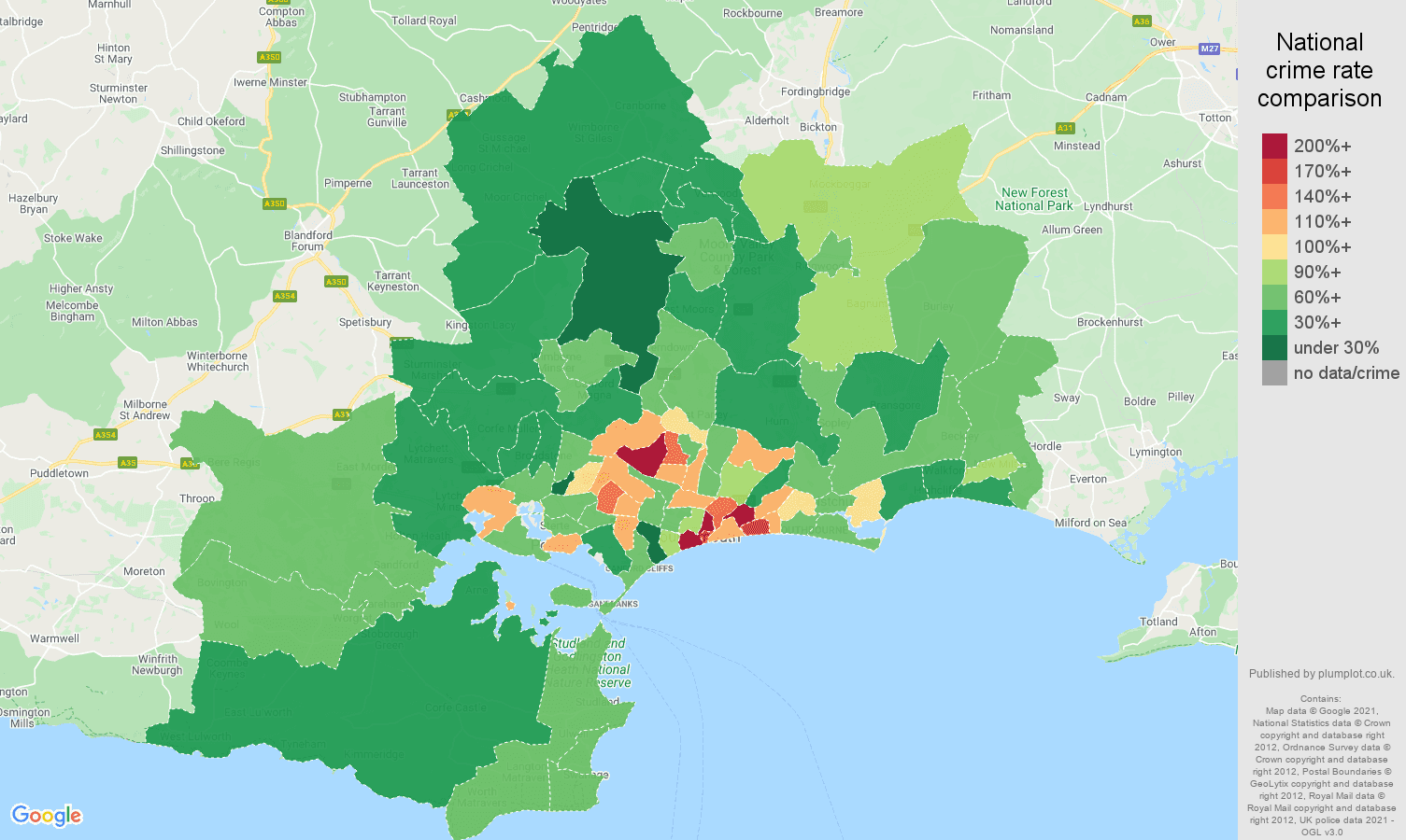 Bournemouth violent crime rate comparison map