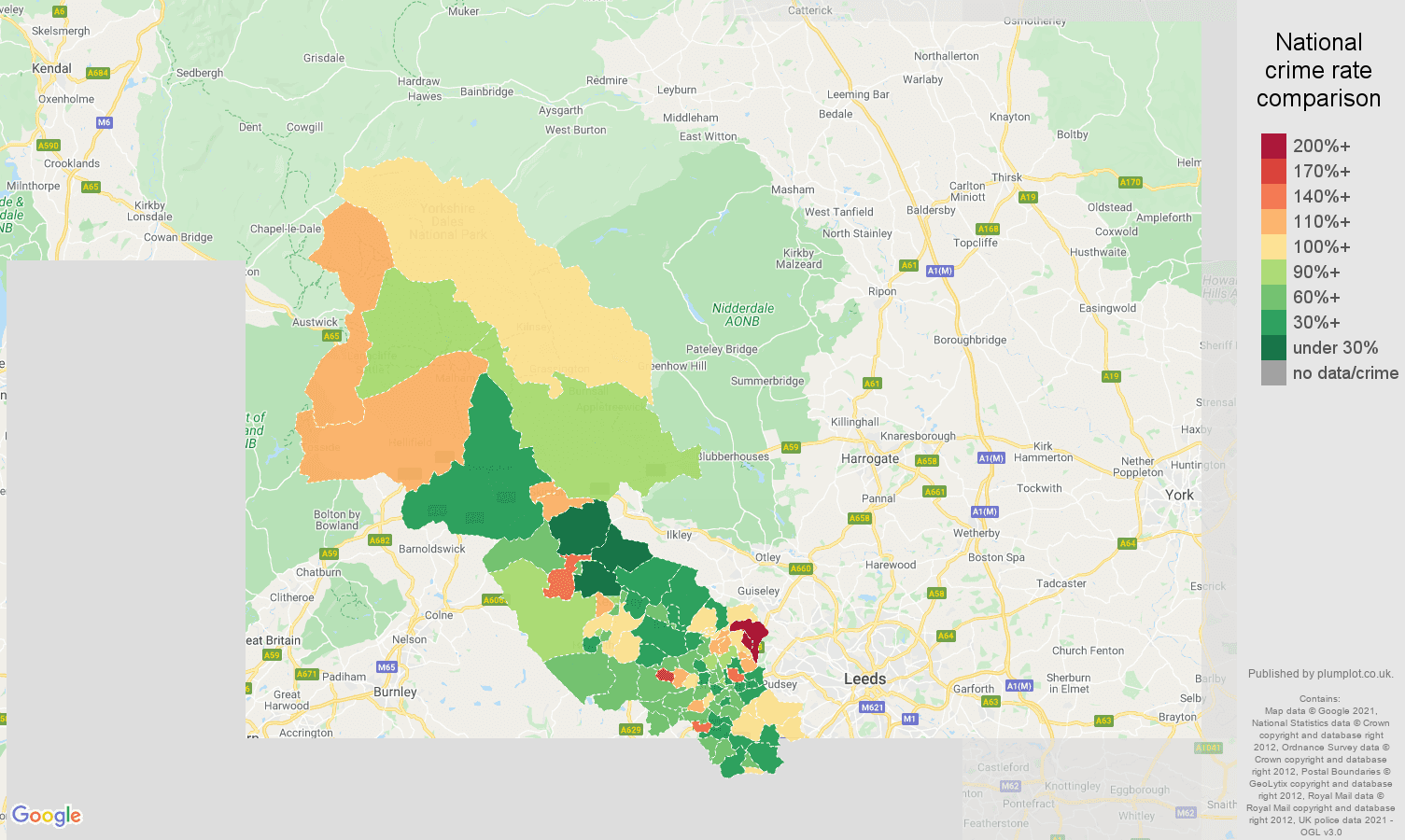 Bradford antisocial behaviour crime rate comparison map