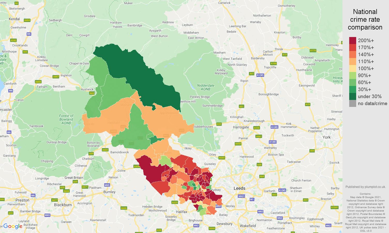 Bradford burglary crime rate comparison map