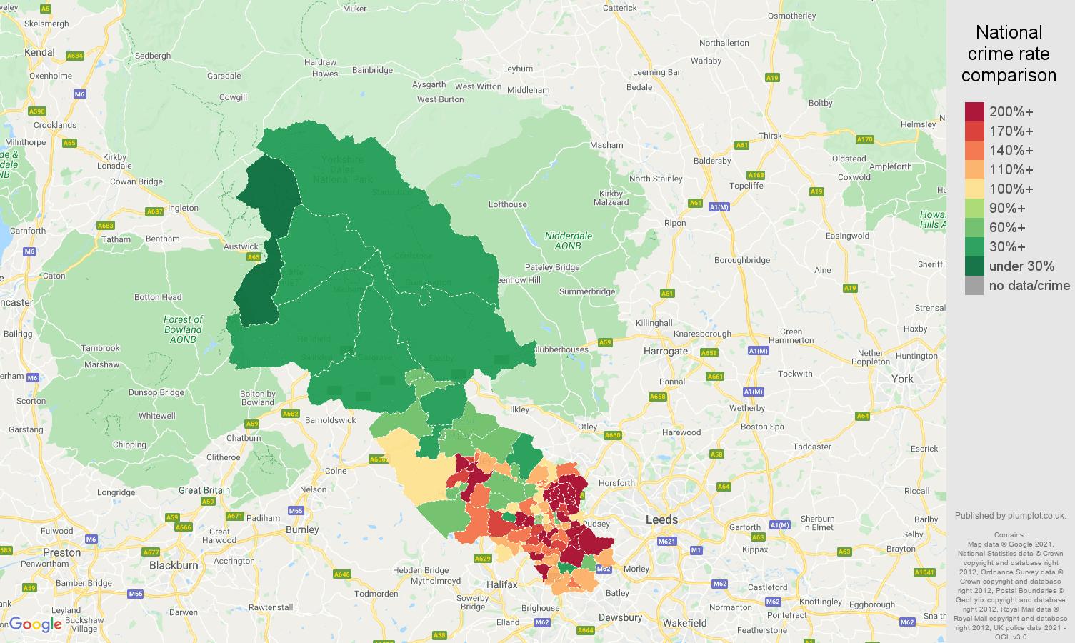 Bradford criminal damage and arson crime rate comparison map
