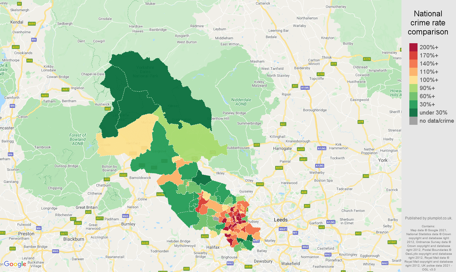Bradford drugs crime rate comparison map