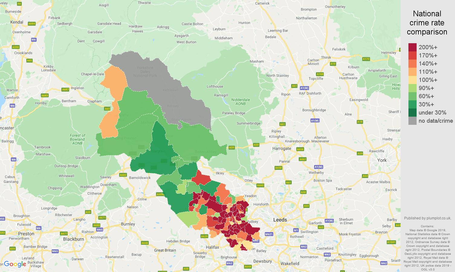 Bradford other crime rate comparison map