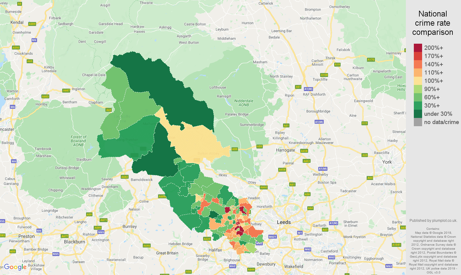 Bradford other theft crime rate comparison map