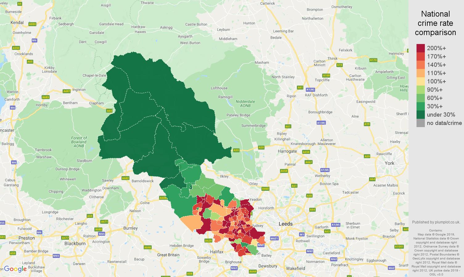 Bradford public order crime rate comparison map