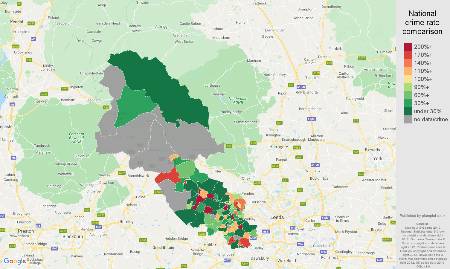 Bradford shoplifting crime rate comparison map