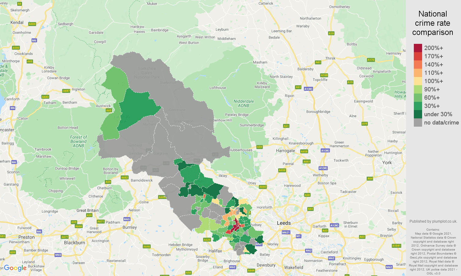 Bradford theft from the person crime rate comparison map