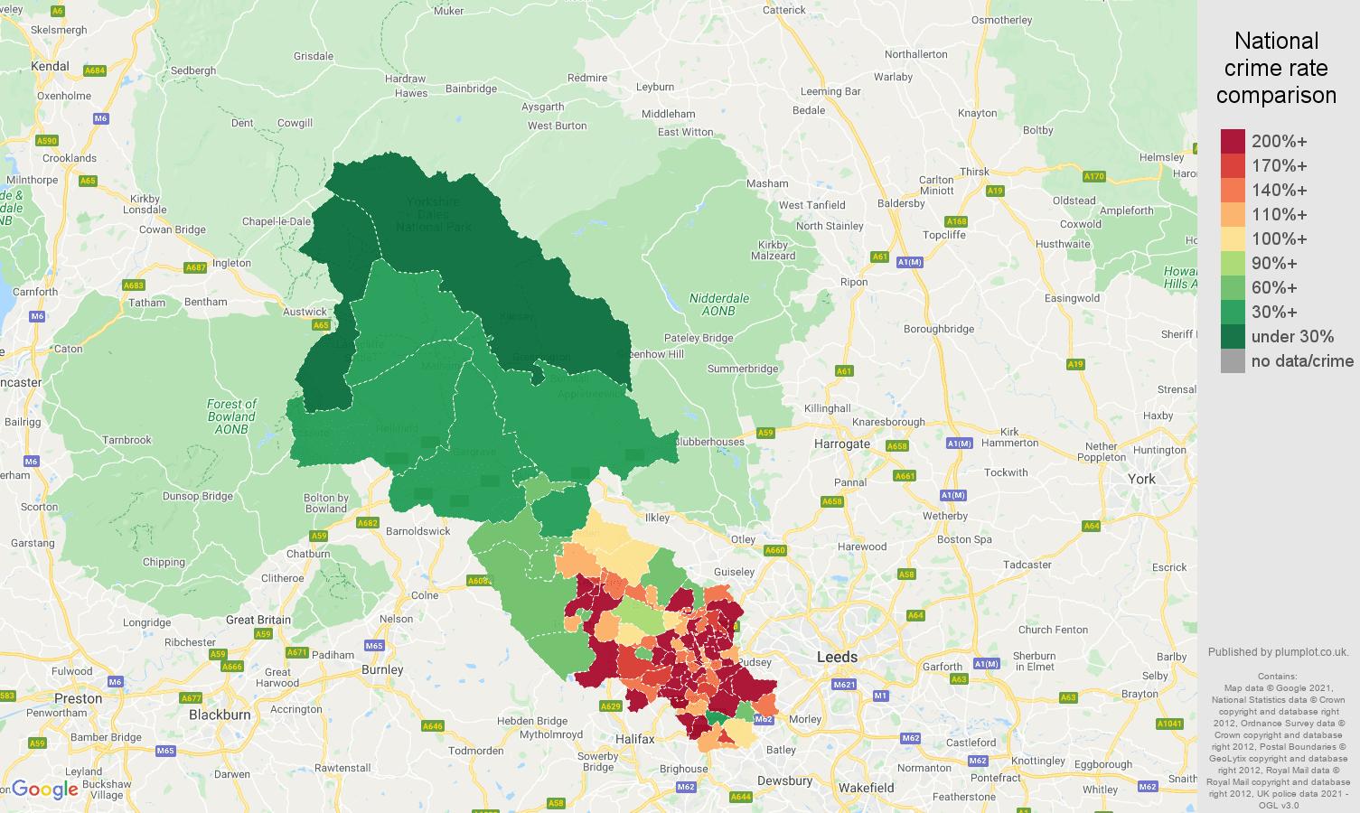 Bradford violent crime rate comparison map