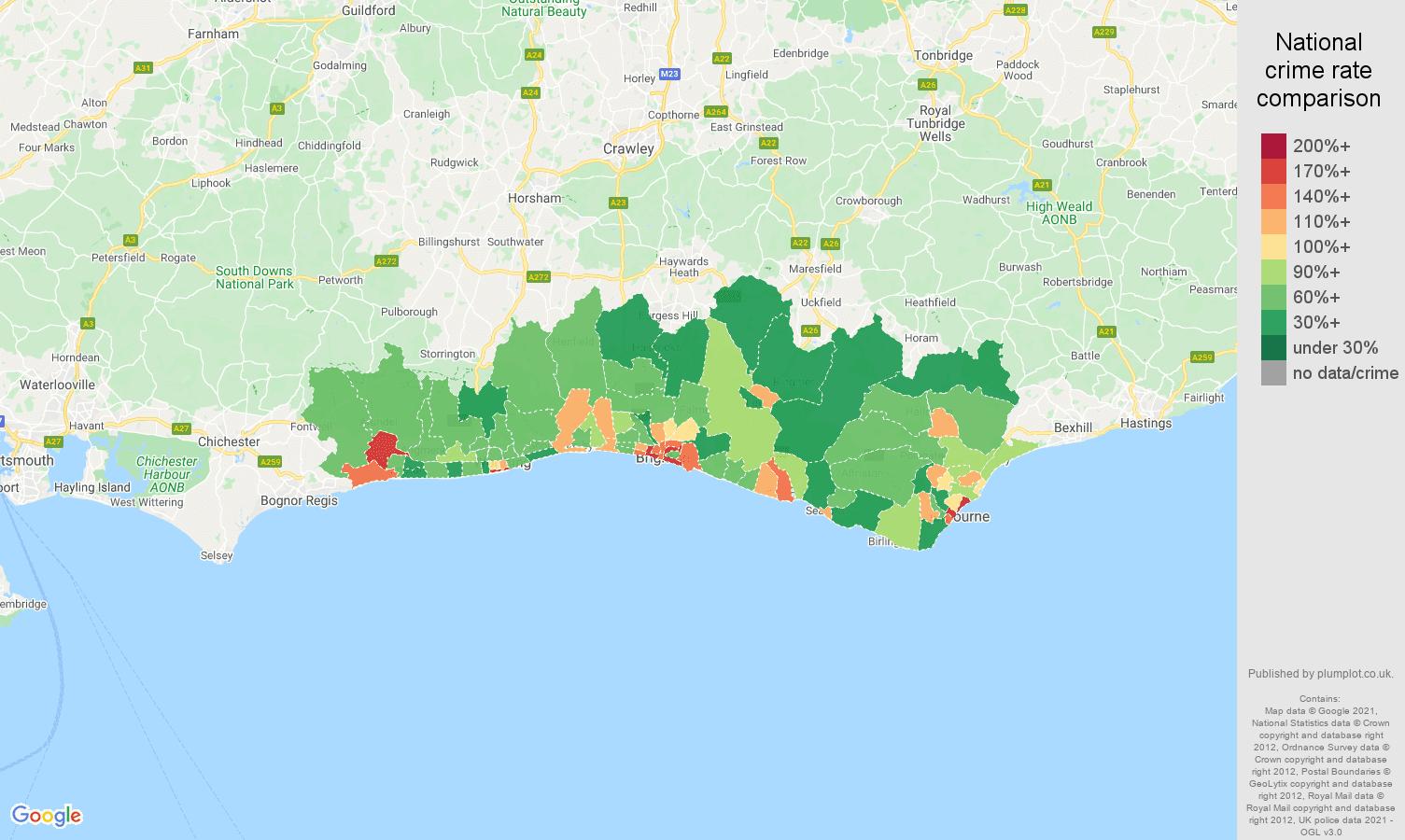Brighton antisocial behaviour crime rate comparison map