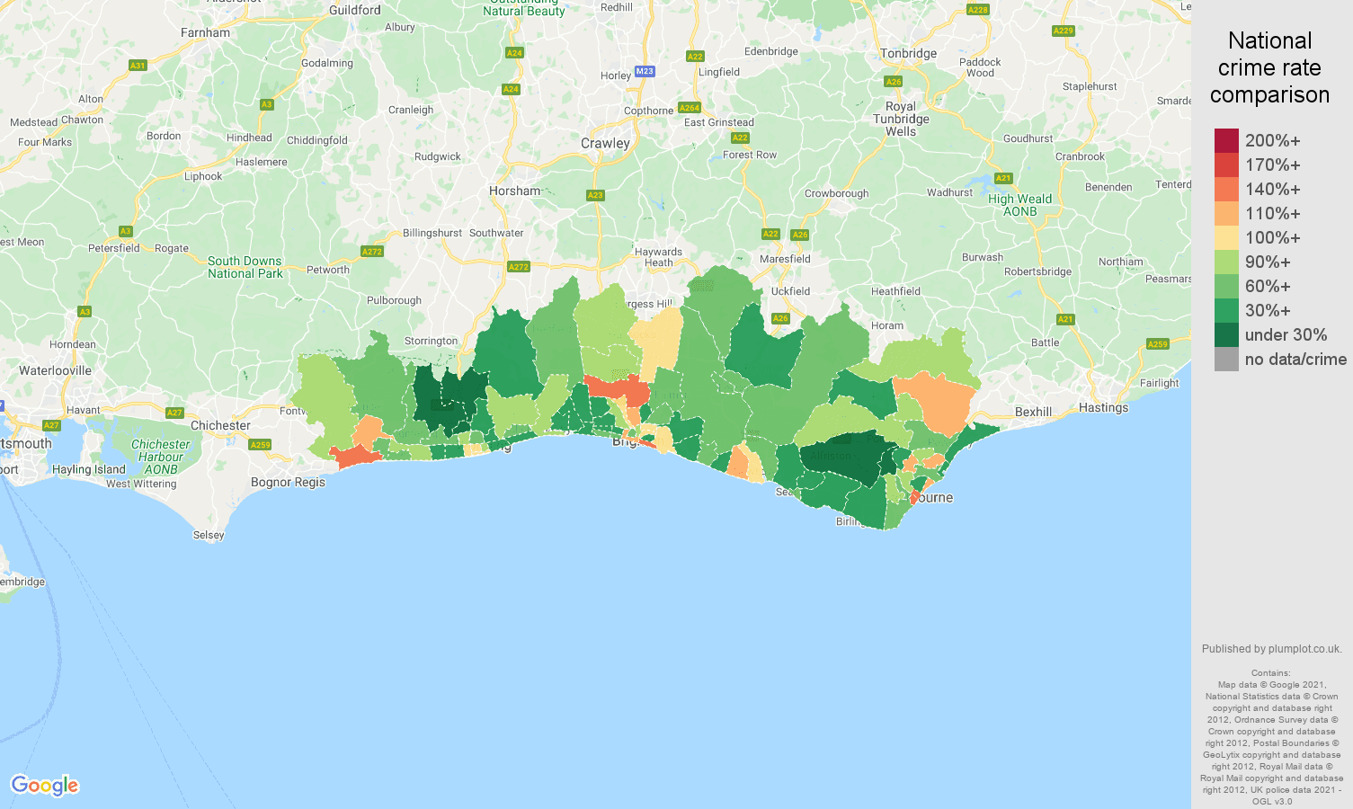 Brighton burglary crime rate comparison map