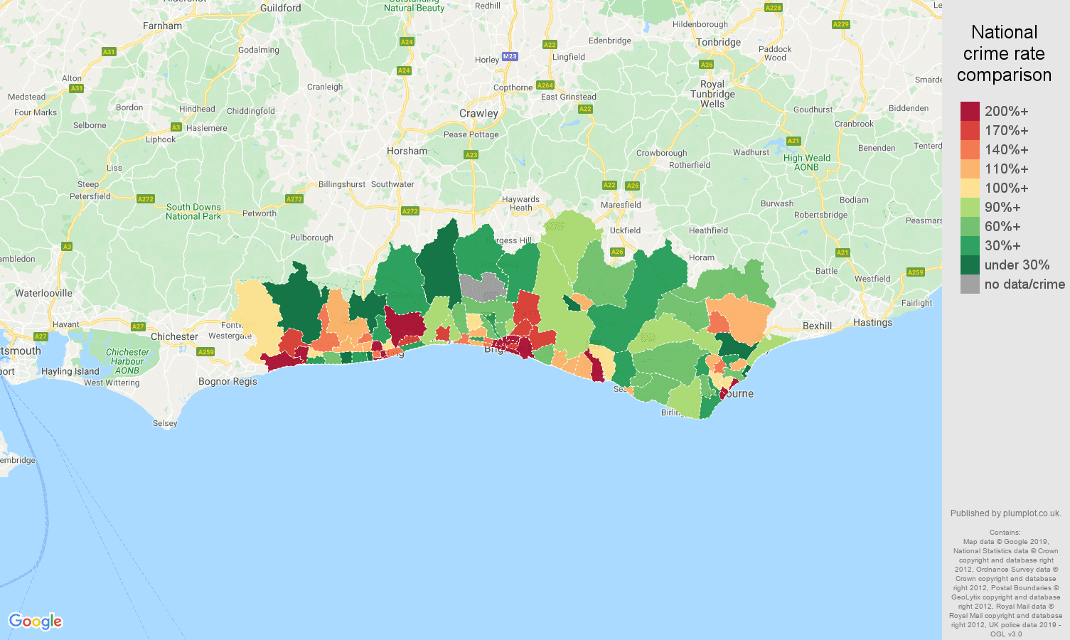 Brighton possession of weapons crime rate comparison map