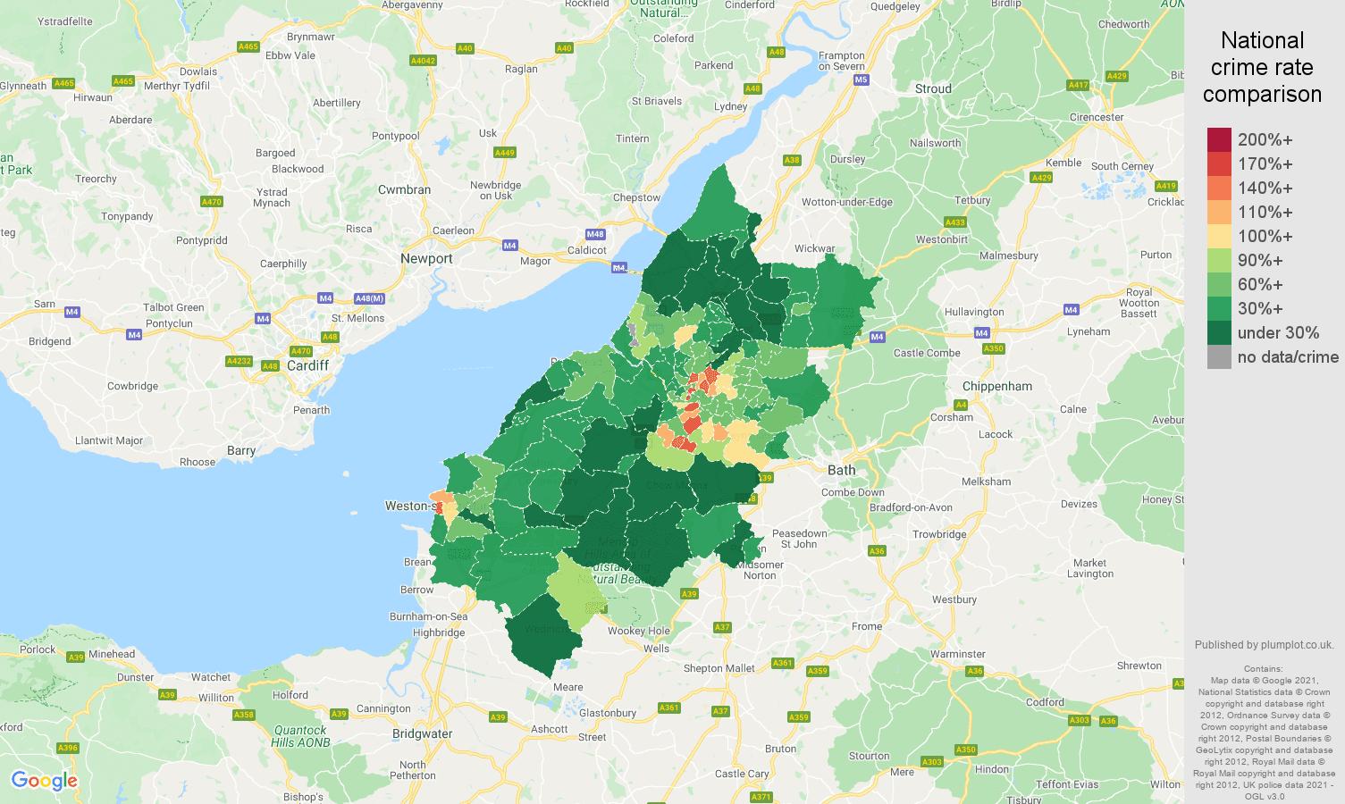 Bristol antisocial behaviour crime rate comparison map
